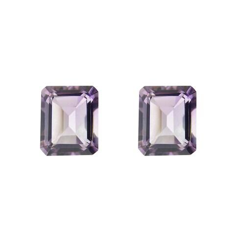 Glitzy Rocks 9x7 Emerald-cut Amethyst Stone (4ct TGW) (Set of 2)