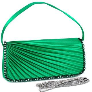 Dasein Pleated Rhinestone Trimmed Evening Bag (Option: Green)
