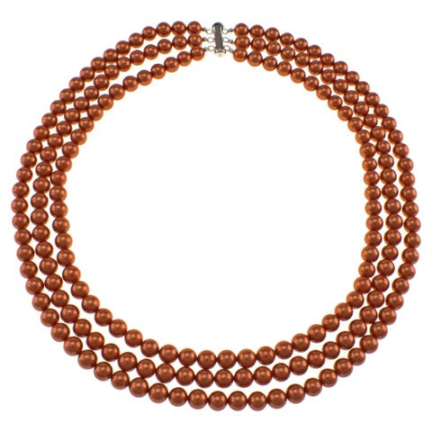 Orange Shell Pearl Triple Strand Necklace Jewelry for Womens