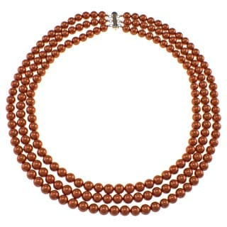 Pearlz Ocean Orange Shell Pearl Triple Strand Necklace