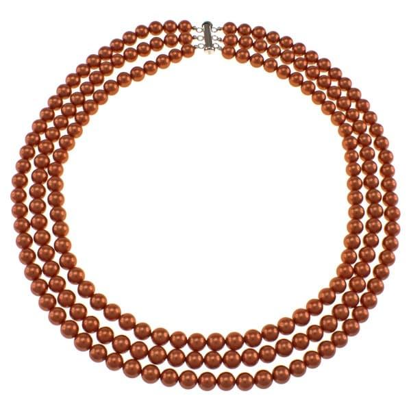 Pearlz Ocean Orange Shell Pearl Triple Strand Necklace