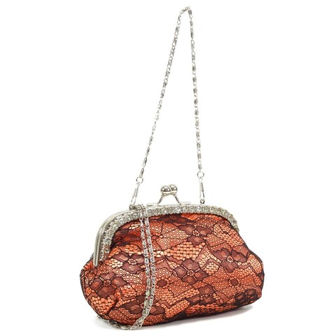 Dasein Rhinestone Accented Lace Overlay Satin Evening Bag
