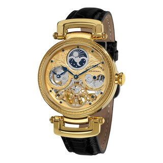 Stuhrling Original Men's Magistrate Automatic Skeleton Watch with Black Leather Strap - Black/gold