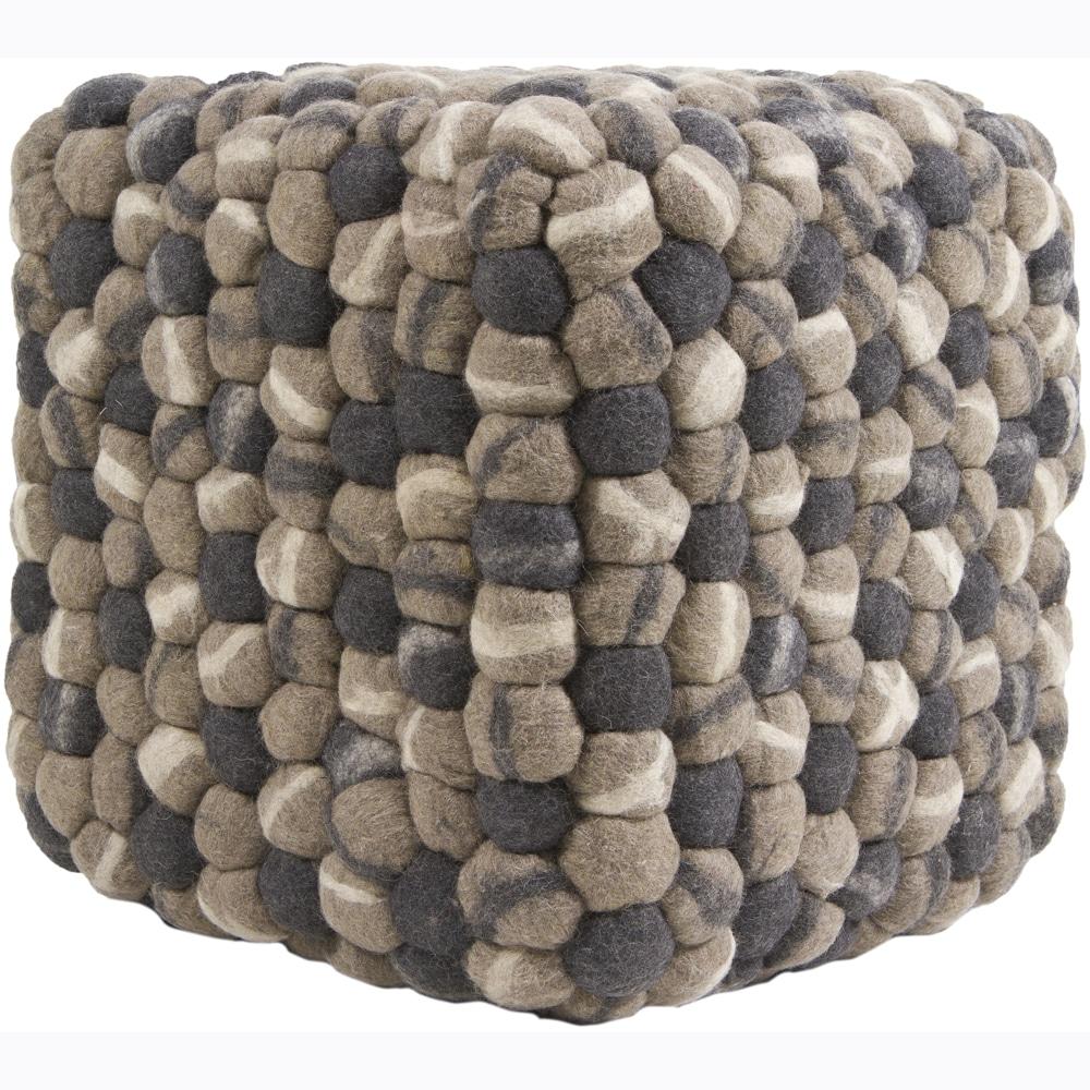 Mandara Felted Beige/ Taupe/ Grey Wool Poufs  (0)