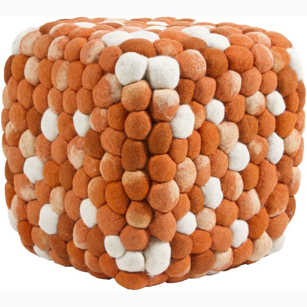 Felted Orange/ Cream Wool Poufs