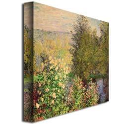 Claude Monet 'Corner of the Garden at Montgeron 1876' 35-inch Canvas Art - Thumbnail 1