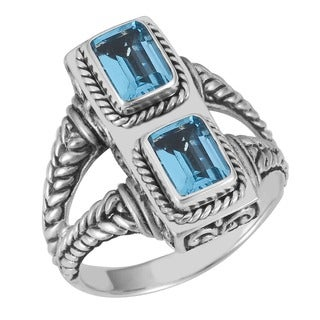 Handmade Sterling Silver Blue Topaz Two-Stone 'Cawi' Ring (Indonesia)