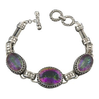 Handmade Sterling Silver Mystic Topaz 'Cawi' Bracelet (Indonesia)