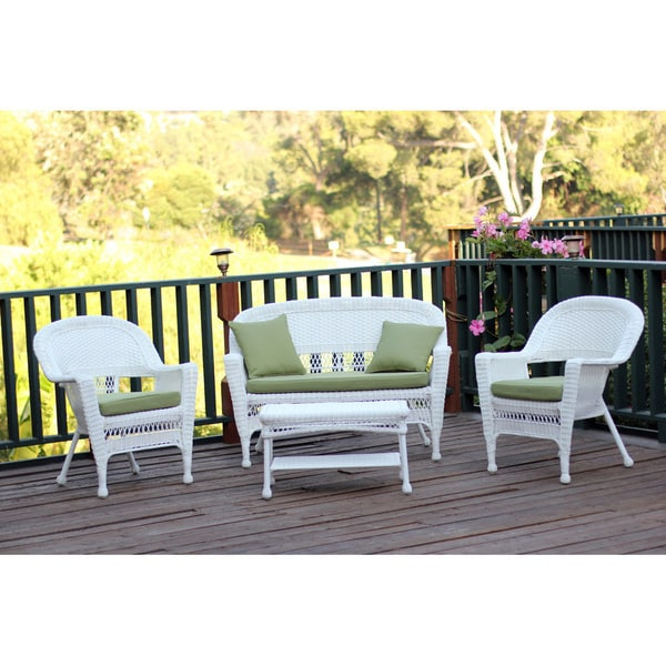 White Wicker 4 Piece Patio Conversation Set