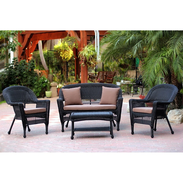 Black Wicker 4 Piece Patio Conversation Set