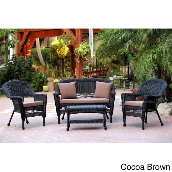 Black Wicker 4 Piece Patio Conversation Set Free