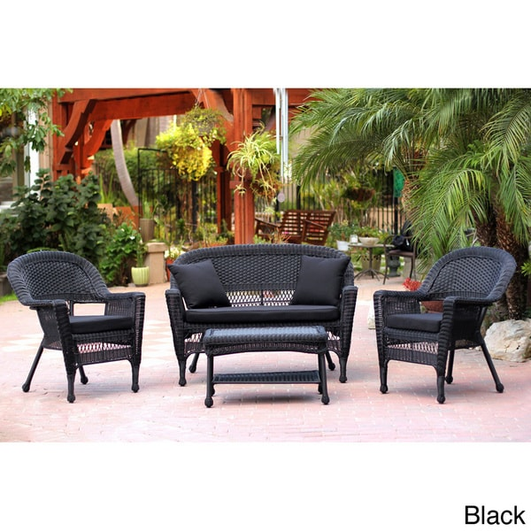 image black wicker outdoor furniture. black wicker 4piece patio conversation set free shipping today overstockcom 14005665 image outdoor furniture