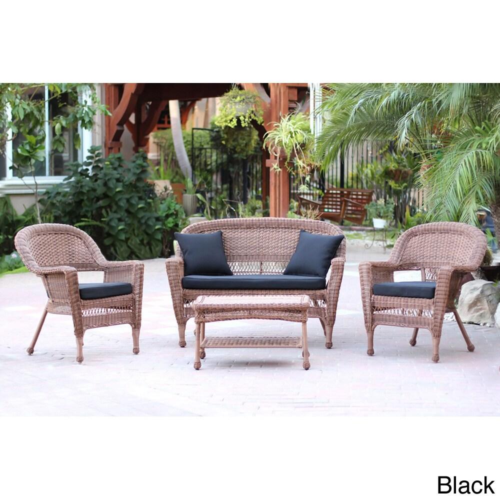 Jeco Honey Wicker 4-piece Patio Conversation Set (Black),...