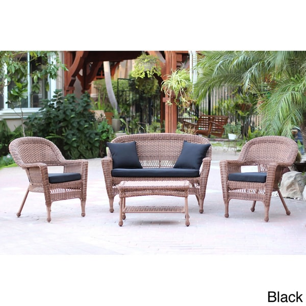 Honey Wicker 4 Piece Patio Conversation Set