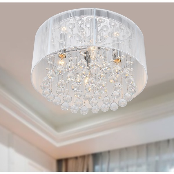 The Lighting Flushmount 4 Light Chrome And White Crystal Chandelier