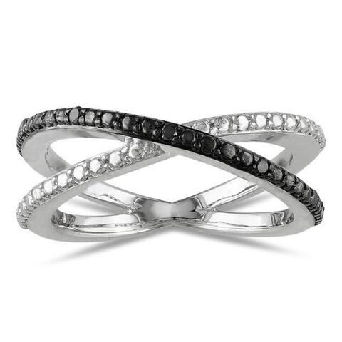Miadora Sterling Silver Black Diamond Ring
