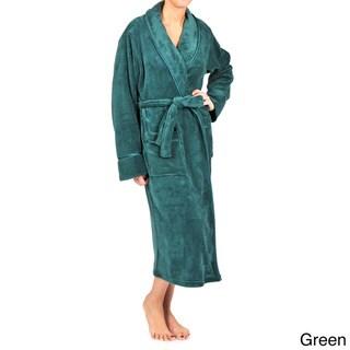 La Cera Women's Satin Trimmed Shawl Collar Spa Robe