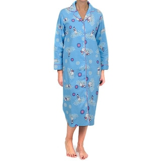 La Cera Women's Blue Bear Notch Collar Sleep Shirt