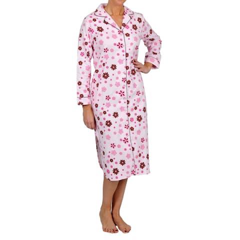 La Cera Women's Plus Size Pink Floral Sleep Shirt