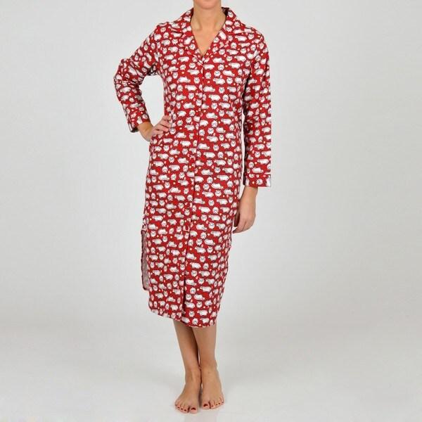 La Cera Women's Plus Size Burgundy Sheep Print Sleep Shirt