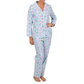 La Cera Women's Plus Size Blue Floral Two-piece Pajama Set