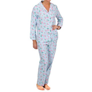 La Cera Women's Blue Floral Two-piece Pajama Set