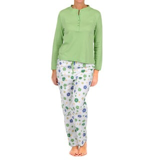 La Cera Women's White/ Green Henley Two-piece Pajama Set