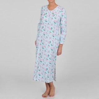 La Cera Women's Long Sleeve Flannel Rose Print Nightgown