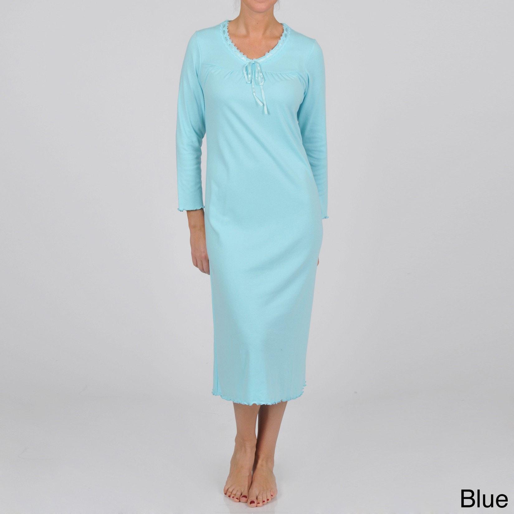 9392864f755 La Cera Women s Plus Size Long Sleeve Scoop Neck Nightgown