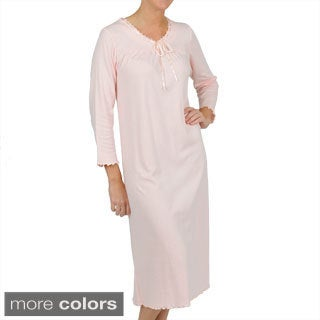 La Cera Women's Long Sleeve Scoop Neck Nightgown