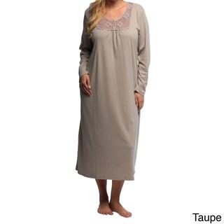 La Cera Women's Plus Size Long Sleeve Crochet Yoke Nightgown
