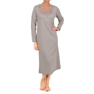 La Cera Women's Long Sleeve Crochet Yoke Nightgown