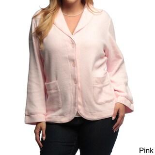 La Cera Women's Plus Size Three-button Shawl Collar Jacket