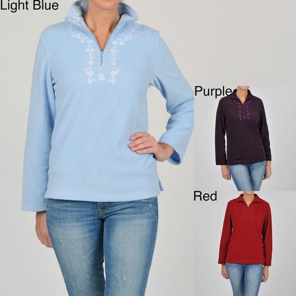 La Cera Women's Plus Size Half-zip Pullover Fleece Jacket