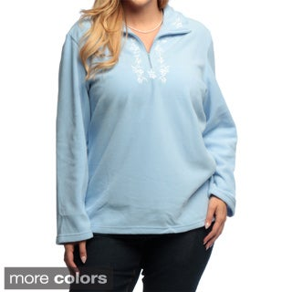 La Cera Women's Plus Size Half-zip Pullover Fleece Jacket