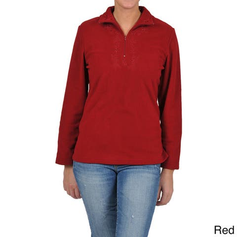 La Cera Women's Long Sleeve Half-zip Pullover Fleece Jacket