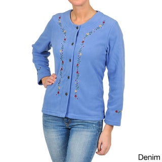La Cera Women's Embroidered Fleece Jacket (More options available)