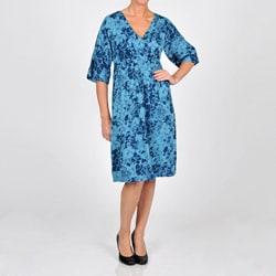 La Cera Women's Plus Size 3/4-length Sleeve V-neck Caftan Dress