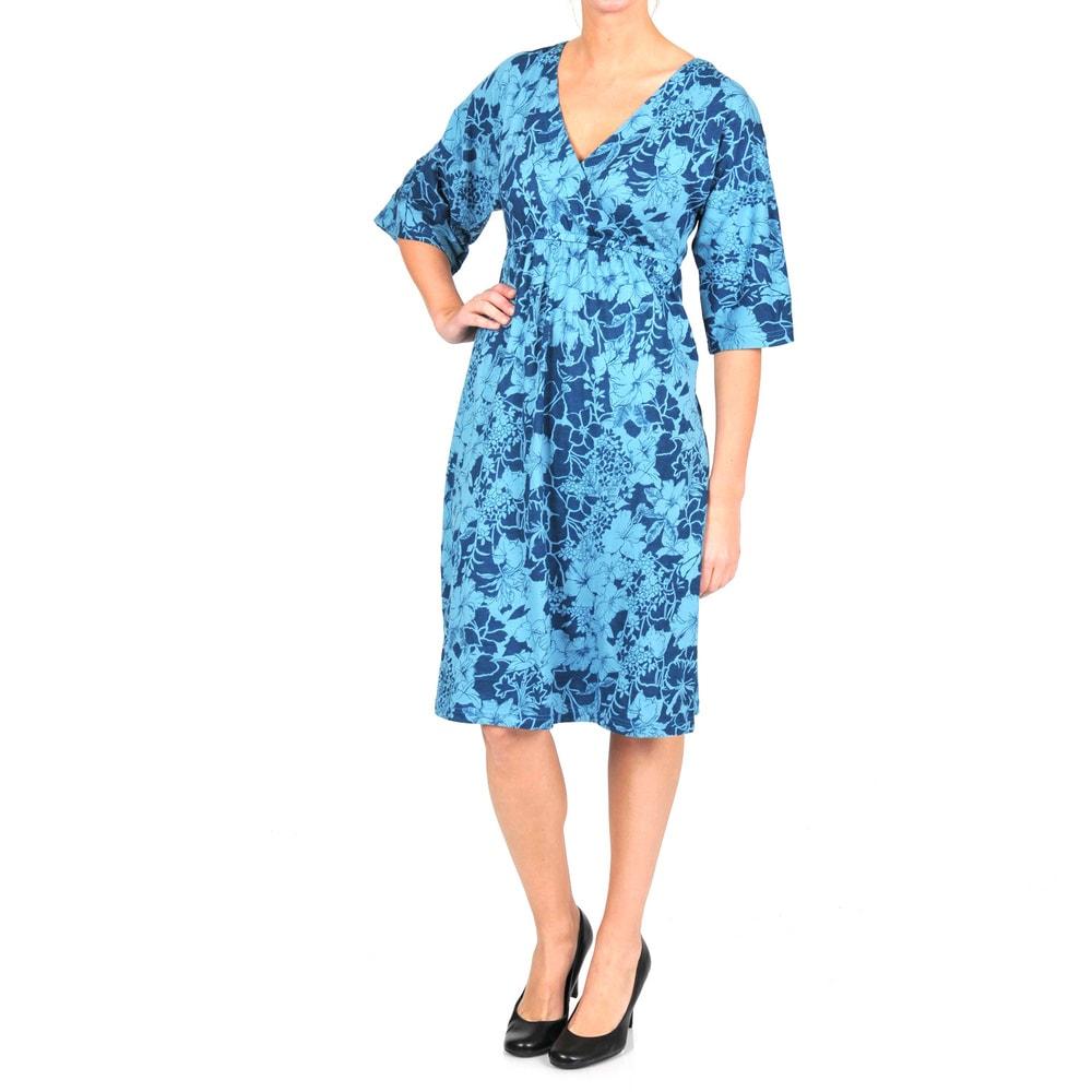 La Cera Womens 3/4-length Sleeve V-neck Caftan Dress