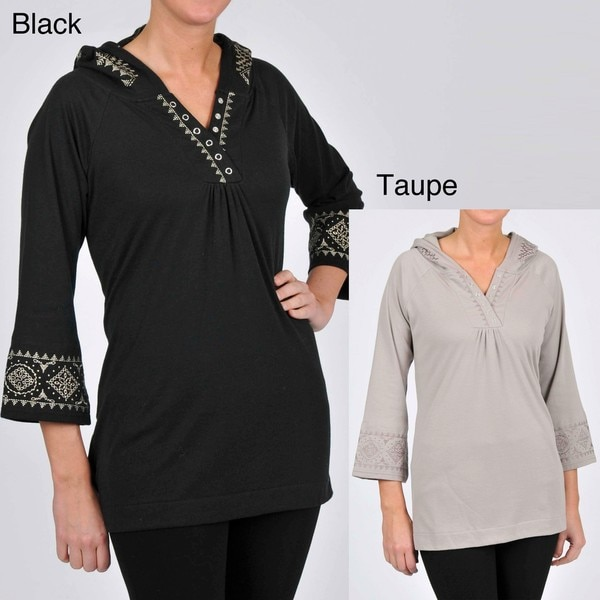 La Cera Women's Plus Size 3/4-length Sleeve Embroidered Hooded Tunic