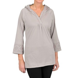 La Cera Women's 3/4-length Sleeve Embroidered Hooded Tunic (More options available)
