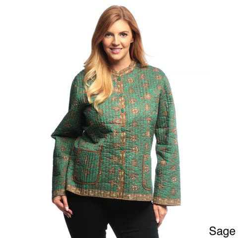 La Cera Women's Plus Size Quilted Floral-Print Mandarin Collar Jacket