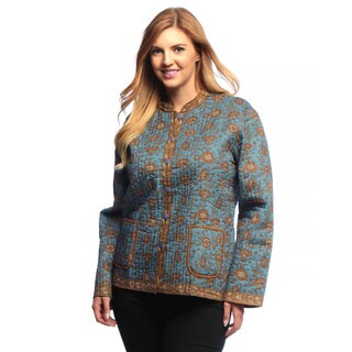 La Cera Women's Plus Size Quilted Floral-Print Mandarin Collar Jacket
