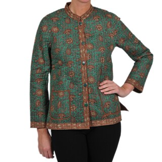La Cera Women's Quilted Mandarin Collar Jacket