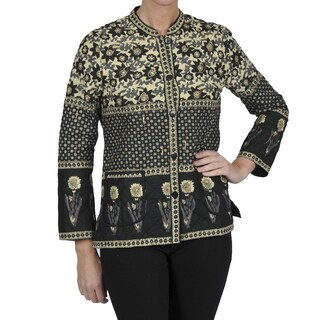 La Cera Women's Black Quilted Mandarin Collar Jacket (3 options available)