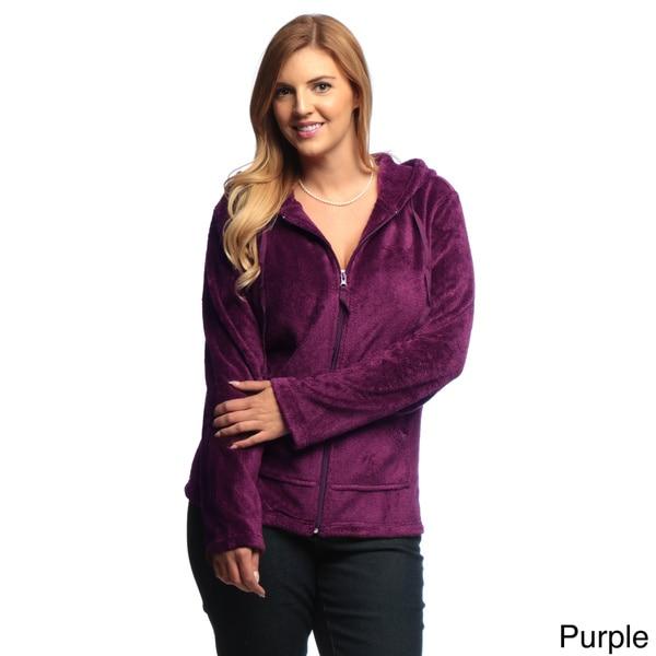 La Cera Women's Plus-Size Luxury Plush Heather Fleece Hooded Jacket