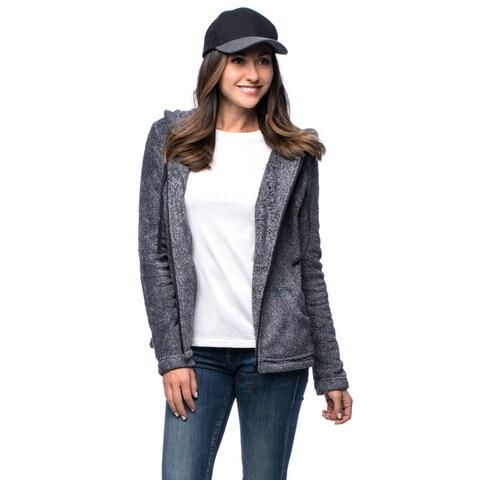 La Cera Women's Luxury Plush Heather Hooded Fleece Jacket