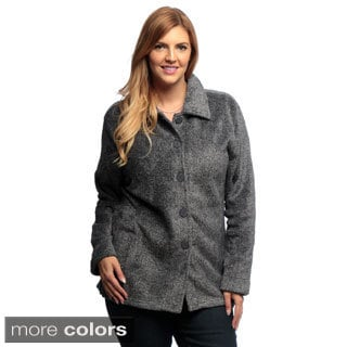 La Cera Women's Plus Size Luxury Plush Heather Fleece Jacket