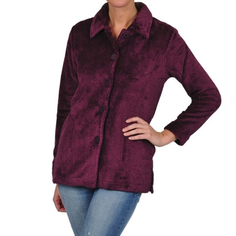 La Cera Women's Luxury Plush Heather Fleece Jacket
