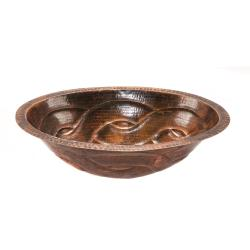 Premier Copper Products Oval Braid Under Counter Hammered Copper Sink